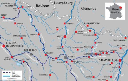 Carte avec les canaux et rivières pour Alsace