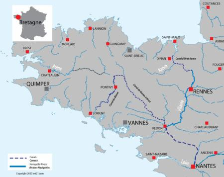 Carte avec les canaux et rivières pour Bretagne