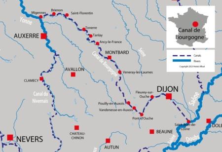 Carte avec les canaux et rivières pour  Canal de Bourgogne