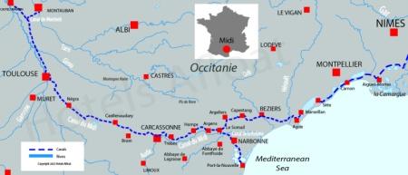 Carte avec les canaux et rivières pour Canal du Midi