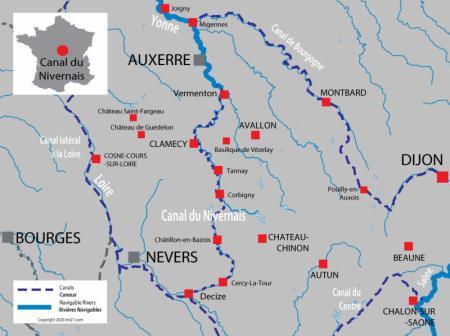 Carte avec les canaux et rivières pour Canal du Nivernais
