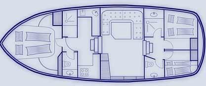 Plan du bateau Saône Bateaux BWS Cruiser 1250 Sanne Saône Bateaux